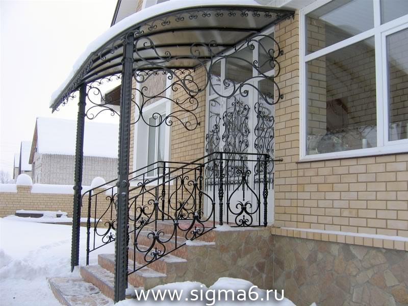 козырьки из нержавейки над входом в дом фото